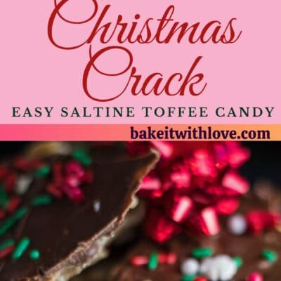 tall pin with two images of the christmas crack saltine toffee.