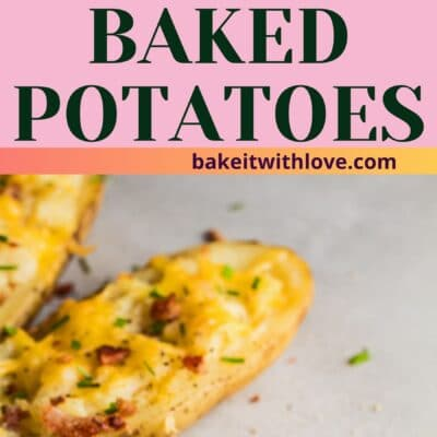 tall pin with 2 images of the twice baked potatoes on white background.