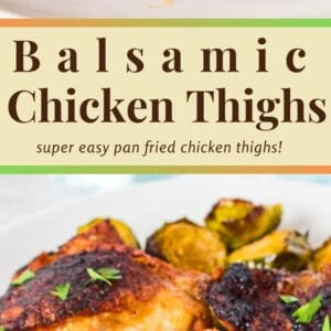 These super easy 4 ingredient Balsamic Chicken Thighs are a go-to chicken dish for super busy nights!