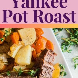 pin image showing a side view and an overhead of the crockpot yankee pot roast served on a white platter