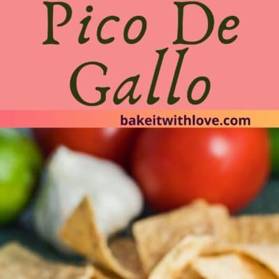 pin with two images of the pico de gallo salsa dished with vegetables in background.