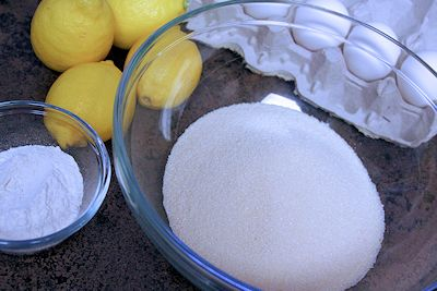 Ingredientes de la receta de barras de limón