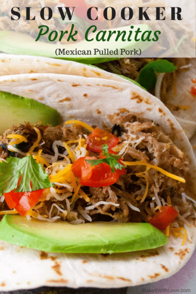 Slow Cooker Pork Carnitas (Mexican Pulled Pork) at Bake It With Love, www.bakeitwithlove.com