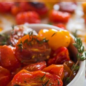 Tasty cherry tomatoes oven roasted with thyme and olive oil!