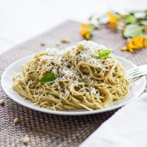 large square image angled side view of dished pasta with pesto coating garnished with fresh grated Parmesan cheese and a few young Genovese basil leaves