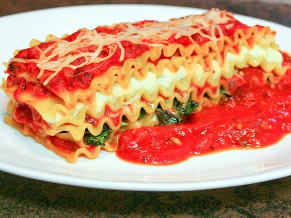 Sauteed Spenat Vegetarisk Lasagnerecept