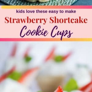 These easy strawberry shortcake cookie cups are fun to make with the kids and a perfect bite sized treat to enjoy!