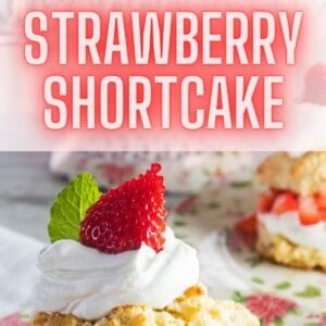 pin image with a side view of an assembled strawberry shortcake with a stand of the shortcakes in the background