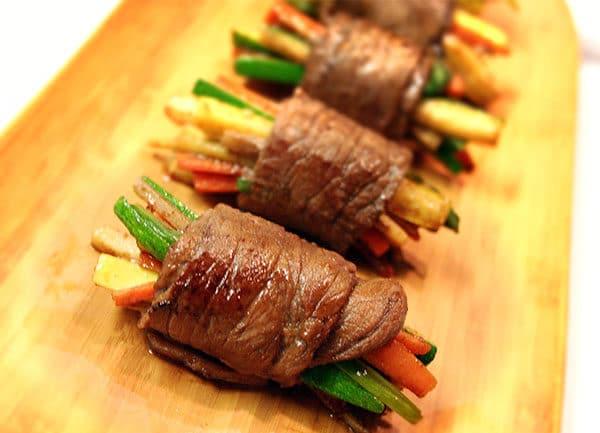 Rollos de bistec teriyaki de solomillo superior
