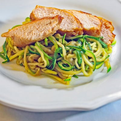 Zoodles With Ginger Sesame Teriyaki Smoked Chicken Breasts, BakeItWithLove.com