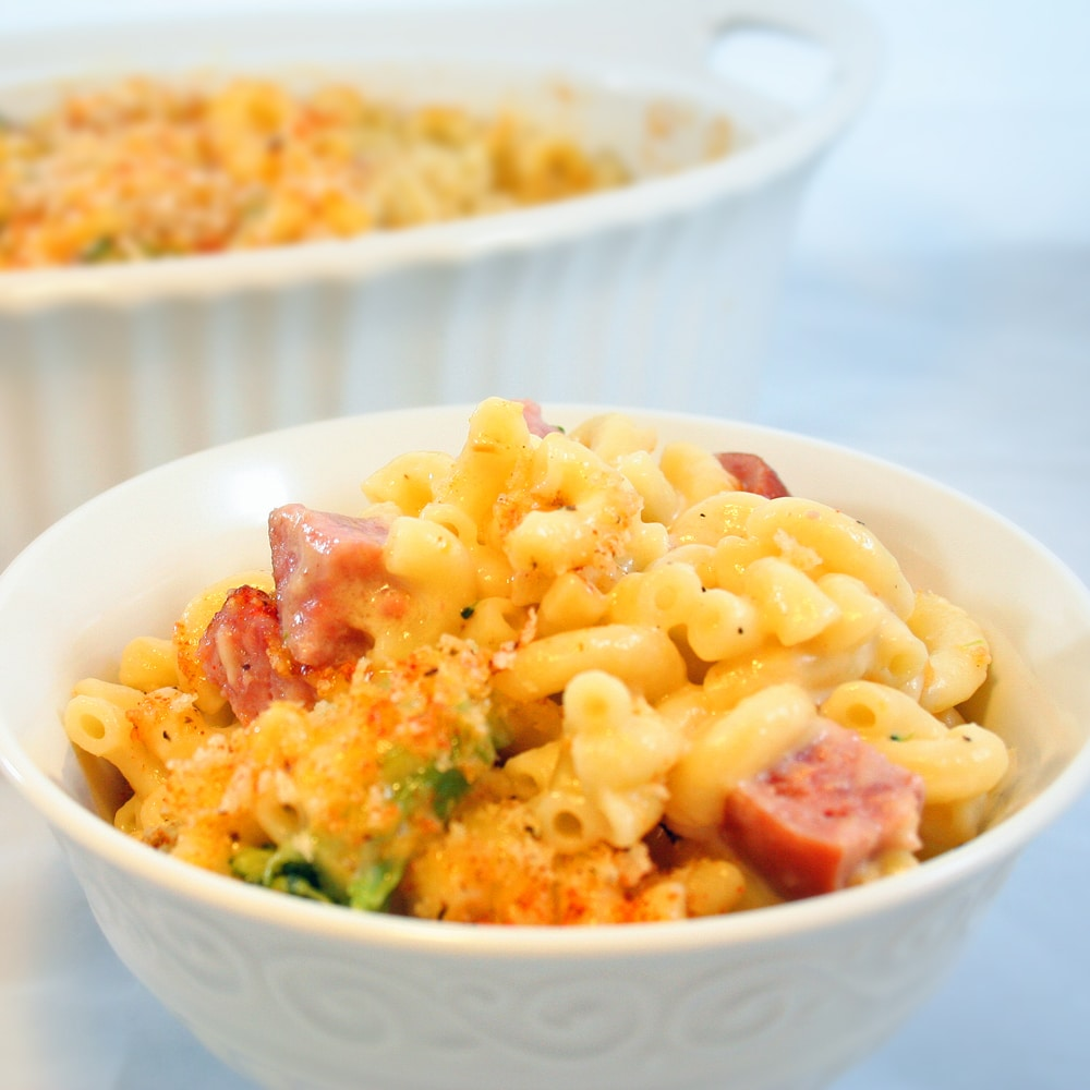 Oven Baked Macaroni and Cheese with Smoked Sausage and Broccoli