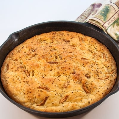 Cast Iron Skillet Garlic Herb Focaccia Bread at Delectable, www.delectablecookingandbaking.com