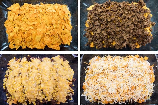 Layering the doritos casserole starting with crushed nacho cheese doritos, ground beef, cream corn, and cheddar cheese.