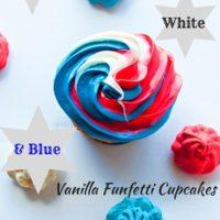 Cupcakes Red White N Blue Vanilla Funfetti di Delectable, www.delectablecookingandbaking.com