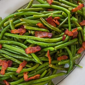 large square overhead closeup of garlic green beans.