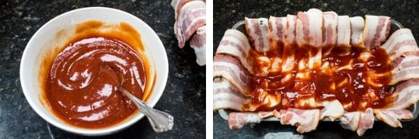ketchup glaze being mixed in a small bowl and coating the inside of the bacon layer