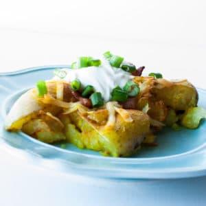 Yukon Gold Gruyere Swiss Cheese Smashed Potatoes