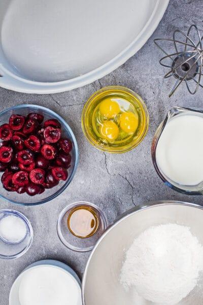 bing cherry clafoutis ingredienser och nödvändig utrustning