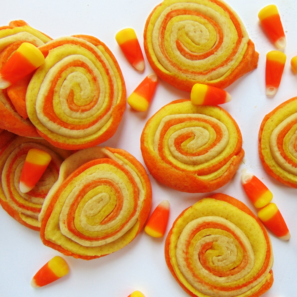 Candy Corn Sugar Cookie Pinwheels