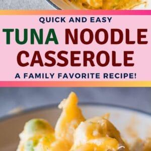 ¡La cazuela de fideos de atún clásica familiar, cubierta con todo tipo de bondades cursis!