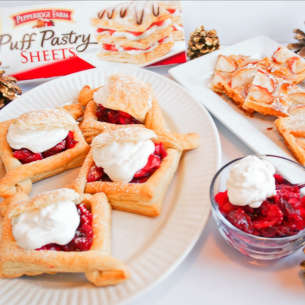 Easy Puff Pastry Treats for Holiday Entertaining! Puff Pastry Apple Tarts and Apple Cranberry Jelly Puff Pastry Cases, BakeItWithLove.com