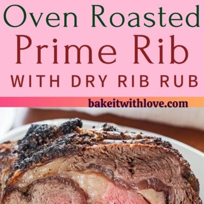 tall pin with two images of the oven roasted prime rib with dry rib rub.
