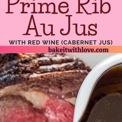alfiler alto con dos imágenes del vino tinto prime rib au jus con separador de texto.