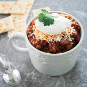 Slow Cooker Three Bean and Beef Chili