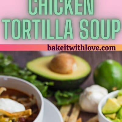 long pin with two images of the served chicken tortilla soup and text divider.