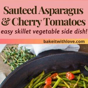 pin dengan dua gambar asparagus tumis dan tomato ceri dalam kuali.
