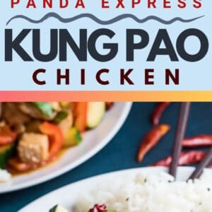 pin image with two photos of the dished panda express kung pao chicken