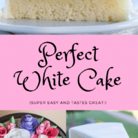 Homemade White Cake that is so easy to make, this perfect vanilla cake is made from scratch!