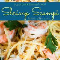 Shrimp Scampi pin image plated on linguine noddles.