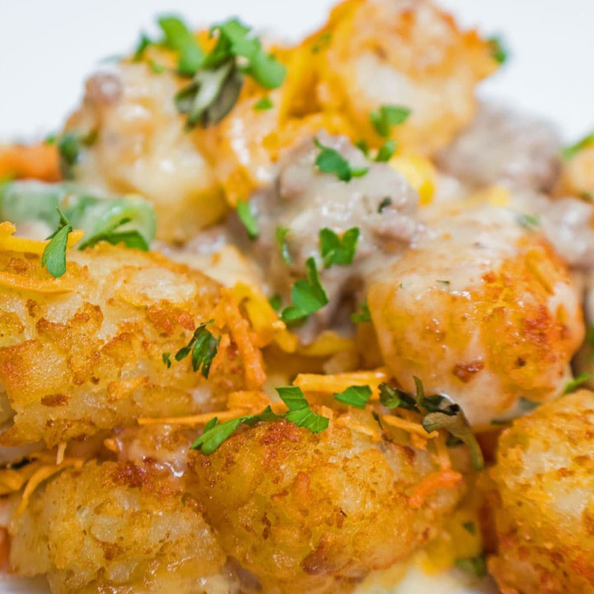 Tater tot casserole close up with chopped parsley on top.