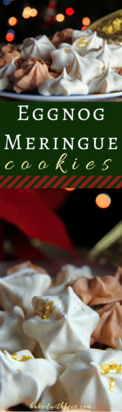 Delightfully spiced Eggnog and Gingerbread Meringue Cookies!