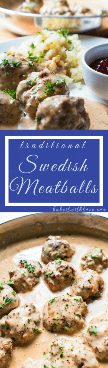 Swedish Meatballs (Svenska Köttbullar with Lingonberries) is a delicious classic meal, and a comfort food favorite for the whole family!!