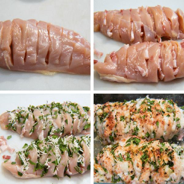 Dada Ayam Hasselback dengan kolase Bacon Bayam dan Keju