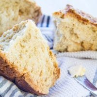 Traditional Irish Soda Bread (white bread) consists of only flour, buttermilk, baking soda and salt!