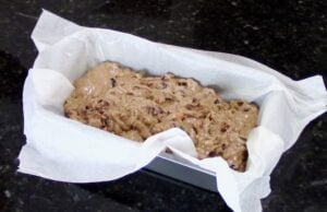 barmbrack dough transferred to loaf pan for baking.