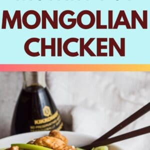 pin with 2 images of the instant pot mongolian chicken served in a white bowl.