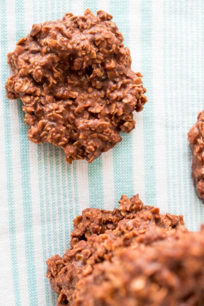 Chocolate Oatmeal No Bake Cookies without peanut butter are a fudgy crisp cookie that are super easy and made in 5 minutes