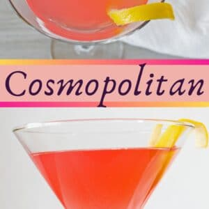 The Cosmopolitan is a delightfully fresh tasting adult version of pink lemonade that is super easy 4 ingredient cocktail!