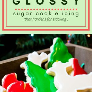Glossy Sugar Cookie Icing (that hardens) is an easy icing for holiday sugar cookie decorating