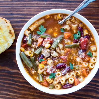 Pasta e Fagioli Soup is a hearty Italian soup with pasta, Italian sausage and vegetables