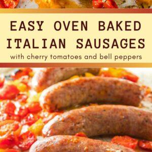 ¡Las salchichas italianas horneadas en un horno de una sartén, rápidas y fáciles, son una cena deliciosamente sabrosa que será una cena para su familia ocupada!