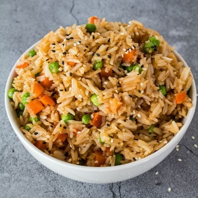 Super easy hibachi fried rice made is the start to a great hibachi dinner night at home with your family!