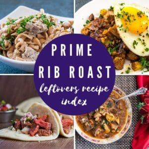 collage photo for the leftover prime rib recipes.