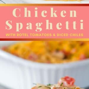 This Chicken Spaghetti with Rotel is a super easy spaghetti casserole loaded with creamy deliciousness from the Velveeta and cream cheeses!