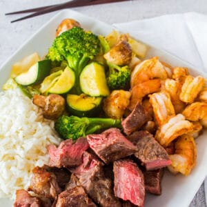 This supremely tasty hibachi steak and shrimp dinner is incredibly easy to make for a fantastic family meal!!