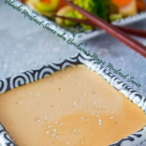 Delightfully creamy hibachi mustard dipping sauce made from toasted sesame seeds, soy sauce, ground mustard, heavy cream and a pinch of garlic powder!